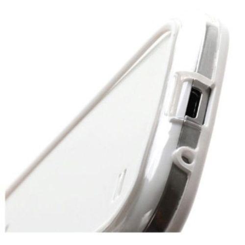 Bumper para Galaxy S4 Mini i9190 de TPU com Plástico - Branco com Transparente