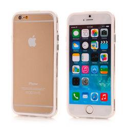 Bumper para iPhone 6 e 6S de TPU - Dual Color   Transparente com Branco