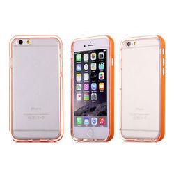 Bumper para iPhone 6 e 6S de TPU - Dual Color | Transparente Com Laranja