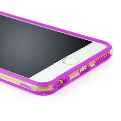 Bumper para iPhone 6 e 6S de TPU - Dual Color | Transparente com Lilás