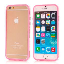 Bumper para iPhone 6 e 6S de TPU - Dual Color | Transparente com Rosa