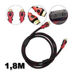 Cabo HDMI x HDMI 1,8 metros - Versão 1.4 - 3D | Preto com Vermelho