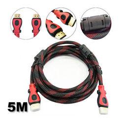 Cabo HDMI x HDMI 5 metros - Versão 1.4 - 3D | Preto com Vermelho