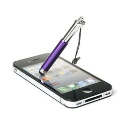 Caneta Stylus para Smartphone e Tablet Compacta com Plug Fone de Ouvido - Roxo