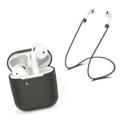 Capa de Silicone para AirPod Apple com Corda Anti Perda - Cinza