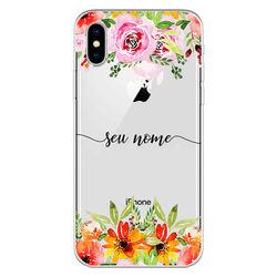 Capa para celular - Flores Coloridas | Com Nome Manuscrito
