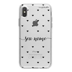 Capa para celular - Black Hearts | Com Nome Manuscrito