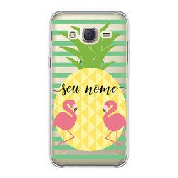 Capa para celular - Abacaxi e Flamingo | Com Nome Manuscrito