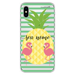 Capa para celular - Abacaxi e Flamingo   Com Nome Manuscrito