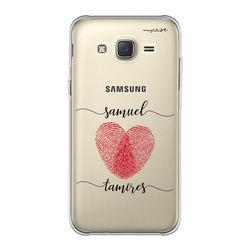 Capa para celular - Coração com Digitais | Com Nomes Manuscritos