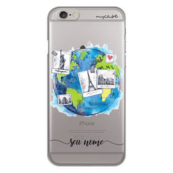 Capa para celular - Viagem pelo mundo | Com nome manuscrito