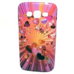 Capa para Galaxy Gran 2 Duos G7102 de TPU com Strass - Corações Pink e Laranja