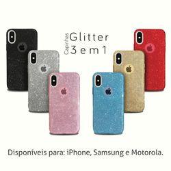 Capa para Galaxy J7 Prime de Plástico com Glitter