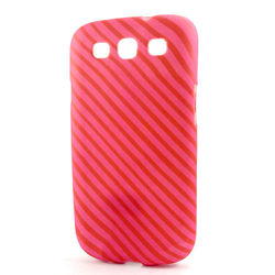 Capa para Galaxy S3 i9300 de TPU - Vermelho e Rosa Listrada