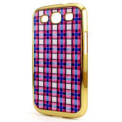 Capa para Galaxy S3 i9300 Fundo de Tecido Xadrez - Rosa