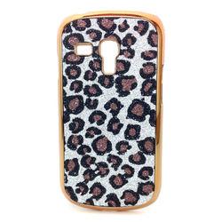 Capa para Galaxy S3 Mini i8190 de Plástico com Glitter - Leopardo Prata