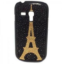 Capa para Galaxy S3 Mini i8190 de Plástico com Strass - Torre Eiffel