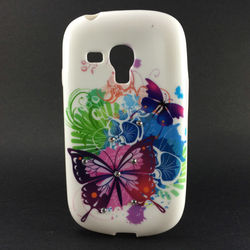 Capa para Galaxy S3 Mini i8190 de TPU com Strass - Borboletas 4