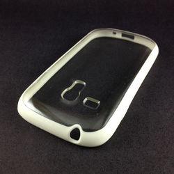 Capa para Galaxy S3 Mini i8190 de TPU com traseira de acrílico transparente - Branca