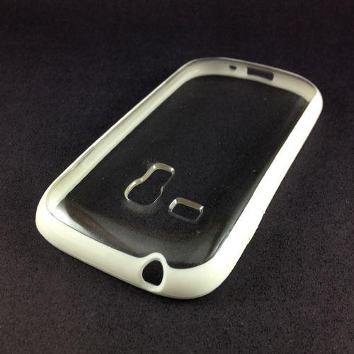 Imagem de Capa para Galaxy S3 Mini i8190 de TPU com traseira de acrílico transparente - Branca