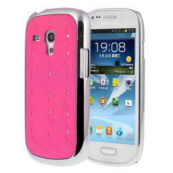Capa para Galaxy S3 Mini i8190 Love Heart com Strass Brilhante - Rosa