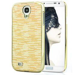 Capa para Galaxy S4 i9500 com Tiras Horizontais Brilhantes - Dourada