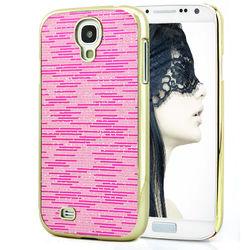 Capa para Galaxy S4 i9500 com Tiras Horizontais Brilhantes - Rosa