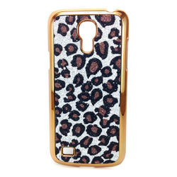 Capa para Galaxy S4 Mini i9190 de Plástico com Glitter - Leopardo Prata