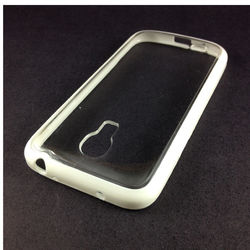 Capa para Galaxy S4 Mini i9190 de TPU com traseira de acrílico transparente - Branca