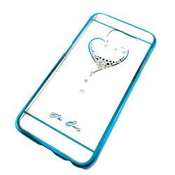 Capa para Galaxy S6 G920 de Acrílico com traseira Transparente - Coração com Strass | Azul
