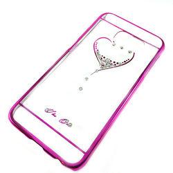 Capa para Galaxy S6 G920 de Acrílico com traseira Transparente - Coração com Strass | Rosa