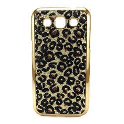 Capa para Galaxy Win Duos i8552 de Plástico com Glitter - Leopardo Dourado