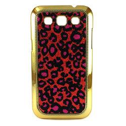 Capa para Galaxy Win Duos i8552 de Plástico com Glitter - Onça Vermelha com Rosa