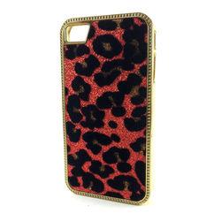 Capa para iPhone 4 e 4S de Pele de Leopardo com Glitter - Vermelho