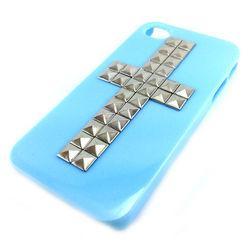 Capa para iPhone 4 e 4S de Plástico com Cruz Prateada - Azul