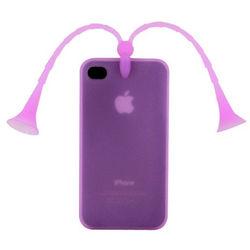 Capa para iPhone 4 e 4S de Silicone 3D Bichinho - Roxo