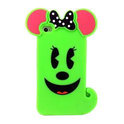 Capa para iPhone 4 e 4S de Silicone 3D Cachorro com Top - Verde