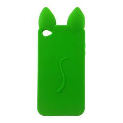 Capa para iPhone 4 e 4S de Silicone 3D Gatinho de Costas - Verde