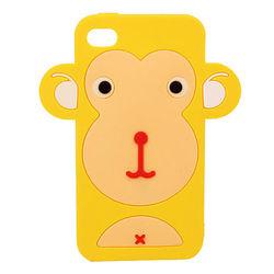 Capa para iPhone 4 e 4S de Silicone 3D Macaco - Amarelo