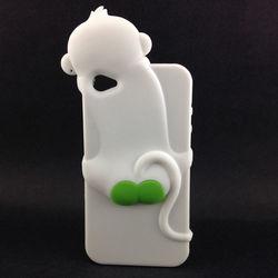 Capa para iPhone 4 e 4S de Silicone 3D Macaquinho - Branco com Verde