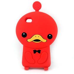 Capa para iPhone 4 e 4S de Silicone 3D Patinho - Vermelho