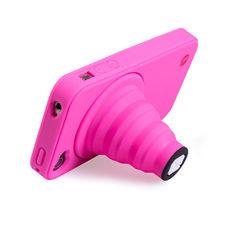 Capa para iPhone 4 e 4S de Silicone - Câmera com apoio | Rosa
