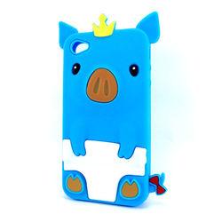 Capa para iPhone 4 e 4S de Silicone Porquinho - Azul