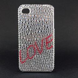 Capa para iPhone 4 e 4S de TPU com Strass - Love