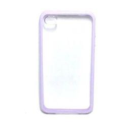 Capa para iPhone 4 e 4S de TPU com Traseira de Acrílico Transparente - Lilás