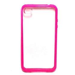 Capa para iPhone 4 e 4S de TPU com Traseira de Acrílico Transparente - Pink