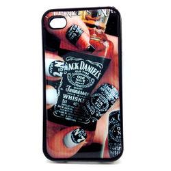 Capa para iPhone 4 e 4S de TPU Preto - Jack Daniels Unhas
