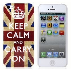 Capa para iPhone 5 e 5S de Plástico - Keep Calm and Carry On