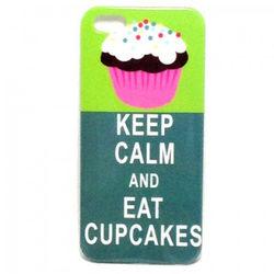 Capa para iPhone 5 e 5S de Plástico - Keep Calm and Eat Cupcakes