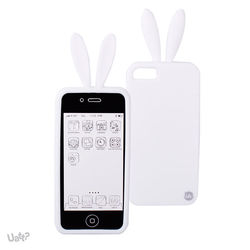 Capa para iPhone 5 e 5S de Silicone - Coelho | Branco